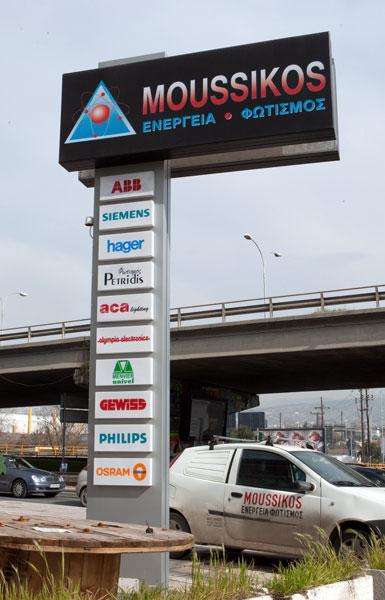 Επιγραφή πυλώνας στο κατάστημα Μουσικός στην αερογέφυρα Σταυρουπόλεως Θεσσαλονίκης
